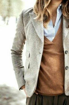Brown skirt, light blue blouse, rust cardi.
