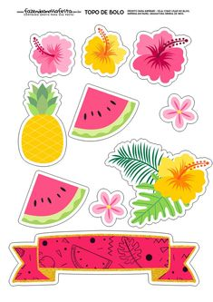 Tropical and Flamingo Themed Free Cake Template Flamingo Party, Flamingo Cake, Flamingo Birthday, Printable Stickers, Cute Stickers, Planner Stickers, Fruit Party, Luau Party, Hawaiian Party Decorations
