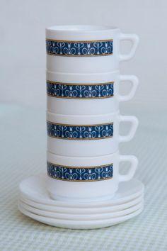 Set of 4 Cute Little Arcopal France Coffee / Expresso by HobbyMum, $28.00