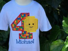 Items similar to Embroidered Lego Birthday Shirt Blockhead Shirt Lego Shirt Personalized, Any Age by Sprinkles of Love on Etsy Leo Birthday, Birthday Boy Shirts, Turtle Birthday, Fourth Birthday, Lego Themed Party, Lego Birthday Party, 6th Birthday Parties, Birthday Ideas, Lego Shirts