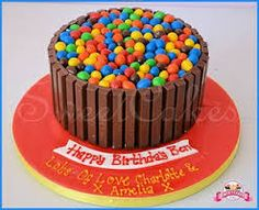 Image result for kitkat skittles cake