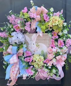 Spring And Summer Wreath, Spring Wreath, Sassy Doors Wreaths, Mother's Day Wreath, Mother's Day Gift Idea Easter Peeps, Easter Bunny, Easter Stuff, Happy Easter, Easter Crafts, Easter Decor, Easter Projects, Diy Projects, Corona Floral