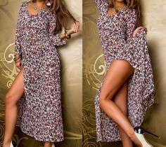 NEU Romantisches Maxikleid Langarm Chiffon Blumen Kleid lang Tunika L 40