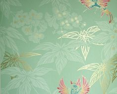 Sale Grove Garden Wallpaper Mint green wallpaper with gold and paler mint leaf design and colourful hummingbirds dancing between the leaves