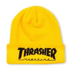 * Gender: Unisex * Material: Cotton, Polyester, Acrylic * Thrasher Knit Beanie With Embroidered Logo Beanie Outfit, Beanie Hats, Yellow Beanie, Black Beanie, Thrasher Outfit, Cool Beanies, Knitted Hats, Crochet Hats, Happy Socks