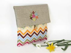 Fabric Clutch Make Up Bag  Linen Foldover Clutch  by cosyribbon