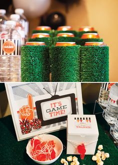 Astroturf beer cozies for a Super Bowl party #superbowl
