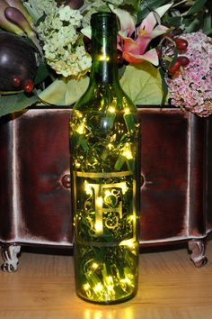 Monogram Etched Lighted Wine Bottle Lamp  Custom by TipsyGLOWs, $14.95