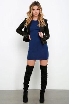 Hey Good Lookin' Short Sleeve Navy Blue Dress at Lulus.com!