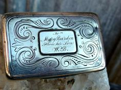 1808 John Shaw Sterling Silver Box, Fully Hallmarked Georgian Piece with Gilt Interior, Inscription on Top and Decorative Engraving, Lovely by postGingerbread on Etsy