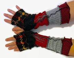 Upcycled Fingerless Gloves Black Red Grey Armwarmers Recycled