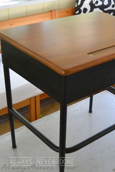 School Desk Refurbished  from rusted piece of junk via Always-Never-Done