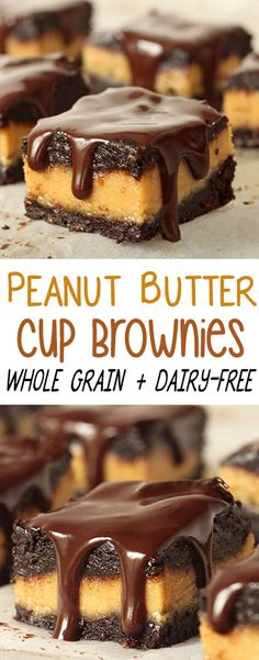 Super rich and gooey peanut butter cup brownies! 100% whole grain and dairy-free.