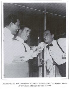 Abbott and Costello learning some magic from magician Ben Chavez. He was a famous magic instructor of the magical arts of sleight of hand...creator of the Chavez School of Magic.