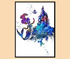 Die kleine Meerjungfrau inspiriert, Ariel, Flunder und Sebastian, Mermaid, Prinzessin Ariel, Aquarell-Print, Kids Room Decor, Instant Download