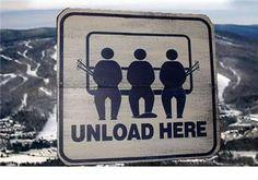 Unload Here Vintage Look SKI Snowboard Wood Skiing Sign Free Shipping | eBay