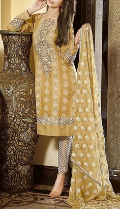 Buy Golden Embroidered Cotton Lawn Dress by GulAhmed 2016 Contact: 702-7513523 Email: info@pakrobe.com Skype: PakRobe