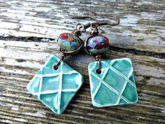Teal earrings, Glass beads, ceramic charms, bronze dangle jewlery | mckeejewelrydesigns -  andria mckee, McKee Jewelry,  McKee Jewelry Designs,   hand made jewelry, jewellery