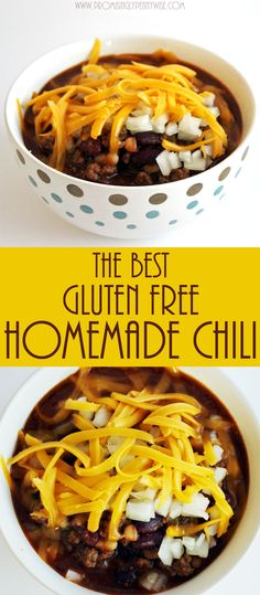 The Best Gluten-Free Homemade Chili Recipe: An easy, flavorful, one pot meal! via @RachaelPPW