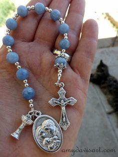 Handmade Catholic Rosary One Decade Purse Rosary by AmyDavisArt