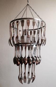 Nice Unusual Bespoke Bone Handled Cutlery Chandelier By Bespokechandeliers On Etsy I Ve Seen Plenty Of Chandeliers But Not One U
