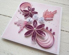Flowers birthday card birthday card quilled card by KaisCards