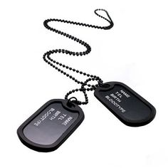 Military Army Style Black 2 Dog Tags Chain Mens Pendant Necklace ( can't write words on tag)