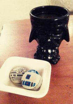 Death star and R2D2 macarons for star wars day- espresso shells with chocolate ganache filling!