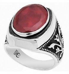Ruby Stone Mens Ring in Sterling Silver