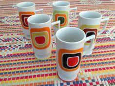 Mid Century set of fine cups mugs from japan by HeartPyrex on Etsy