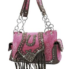 Western purse~This stunning western style purse features super studded accents, embroidery, horseshoe accent, and fringe.  If you are looking to make a statement, this purse is for you.