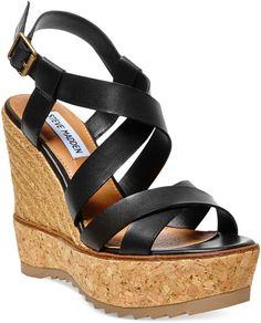 Steve Madden Ellaa Cork Platform Wedge Sandals