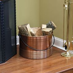 Ribbed+Cauldron+Copper+Firewood+Holder+with+Handle+-+Antique+Copper