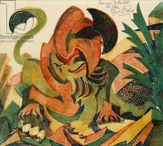 Samson and the Lion, c.1932 (linocut) Cyril Power