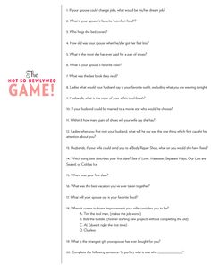 Play at wedding/bridal shower. The not-so-newlywed game Ask both groom and bride the same questions and compare their answers. Ask the guests the same questions and see how many guests can answer correct! Give little prizes for most points Valentinstag Party, Couples Game Night, Night Couple, Night Games, 50th Wedding Anniversary, Anniversary Parties, Anniversary Games, Golden Anniversary, Couple Games