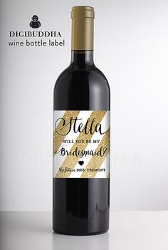Will You Be My Bridesmaid? WINE LABEL Gold Stripes Faux Gold Glitter Personalized Wedding Gatsby Bachelorette Party DIY or Printed- Stella Style Available at digibuddha.com
