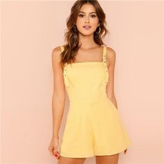 75b63ae8c7 Yellow Color Casual Pocket Straps Sleeveless Mid Waist Romper For Women   fashion  clothing