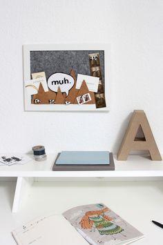 NOCH kreativ | Bastel-Tipp Pinnwand aus Filz und Kork mit Kuh-Pins basteln