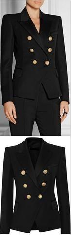 Double-Breasted Gold Button Twill Blazer, Black