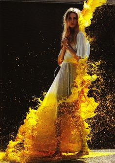 Model with yellow paint