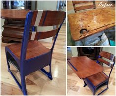 Venetian Blue Metallic Paint and Chalk Paint® update a worn 1940's Desk | Hometalk Projects on the Modern Masters Cafe Blog