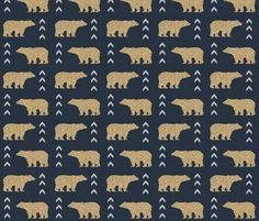 glitter bear navy fabric by charlottewinter on Spoonflower - custom fabric