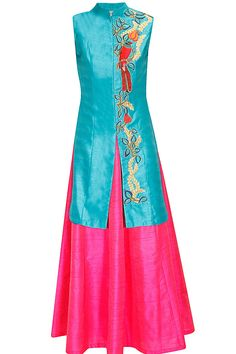Turquoise bird embroidered long achkan jacket with pink skirt lehenga available only at Pernia's Pop Up Shop.#perniaspopupshop #shopnow #aharin #clothing #festive #newcollection