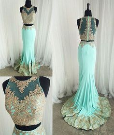 Cute two pieces green lace mermaid long prom dress, evening dress, green lace formal dress for teens, women fashion dress