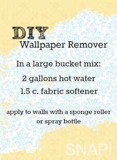 to Remove Wallpaper DIY Wallpaper remover recipe I have tried this.it really works great!DIY Wallpaper remover recipe I have tried this.it really works great! Cleaning Solutions, Cleaning Hacks, E Mc2, Up House, Home Repairs, Do It Yourself Home, Home Hacks, My New Room, Things To Know