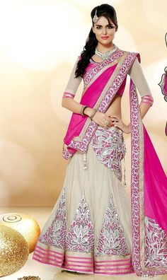 Pink And Off White Embroidered Net Lehenga