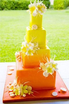 Indian Weddings Inspirations. Yellow Wedding Cake. Repinned by #indianweddingsmag indianweddingsmag.com