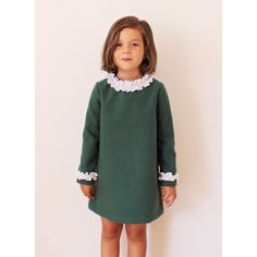 Green and white ruffle dress