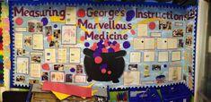 George's marvellous medicine display board. Teaching / cross curricular / instruction writing / measuring