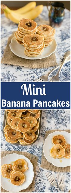 Mini Banana Pancakes made with whole wheat flour for extra nutrition.
